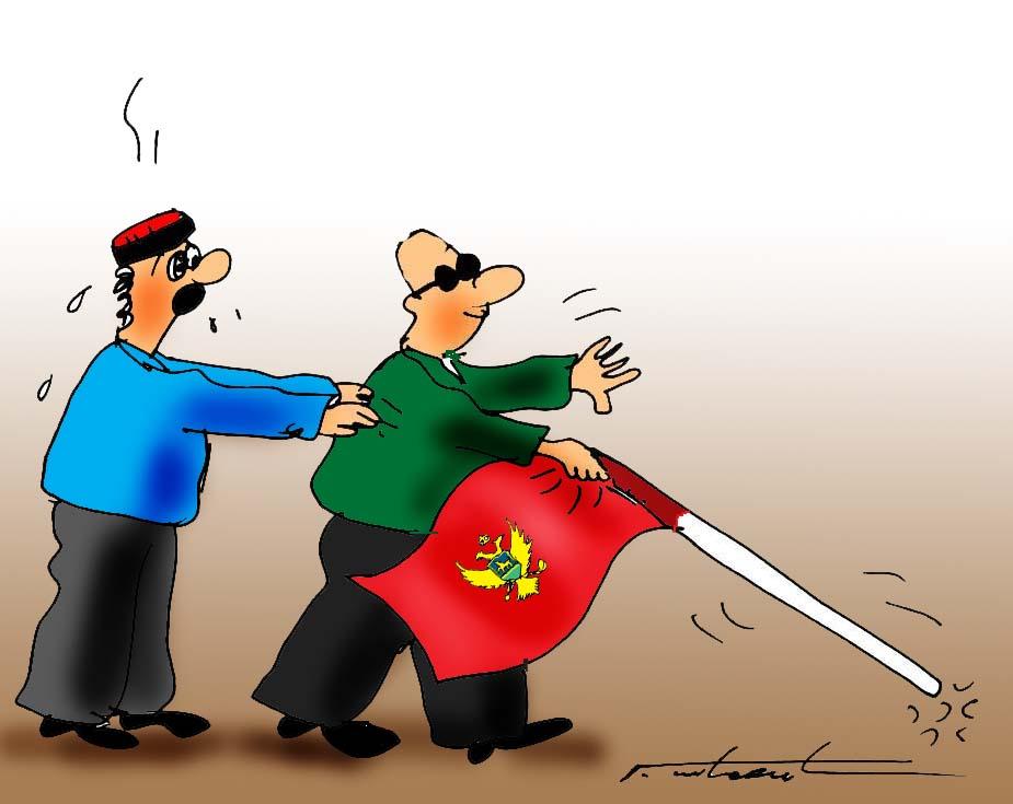 karikatura-Slijepac sa CG zastavom