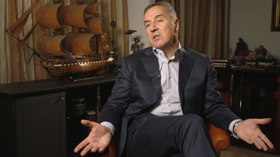 Djukanovic leader of Democratic Party of Socialists speaks during an interview with Reuters in Podgorica