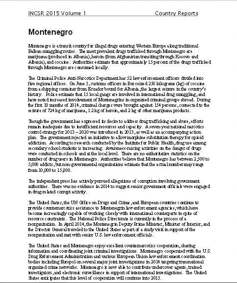 SD Montenegro2 Стејт Департмент: Црна Гора земља транзита за трговину дрогом