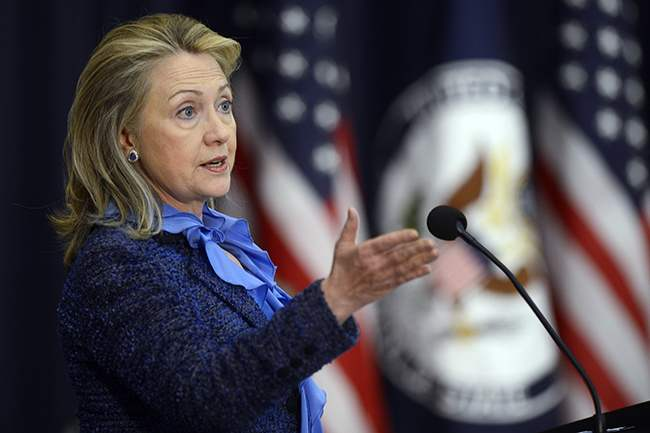 US Secretary of State Hillary Clinton delivers remarks at Stae Department awards ceremony.
