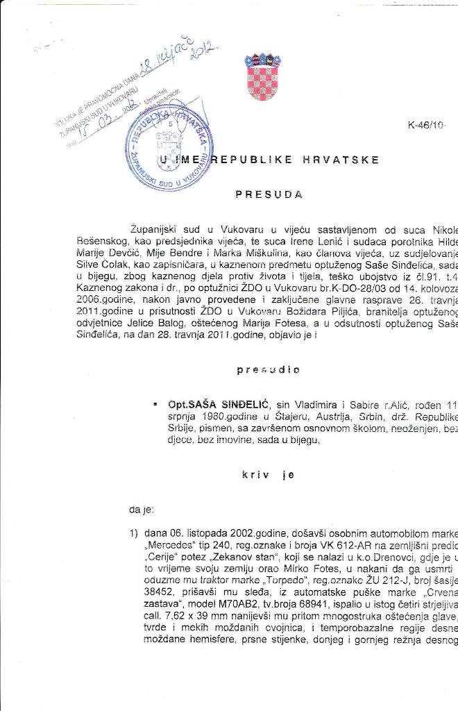Hrvatska presuda Sindjelicu