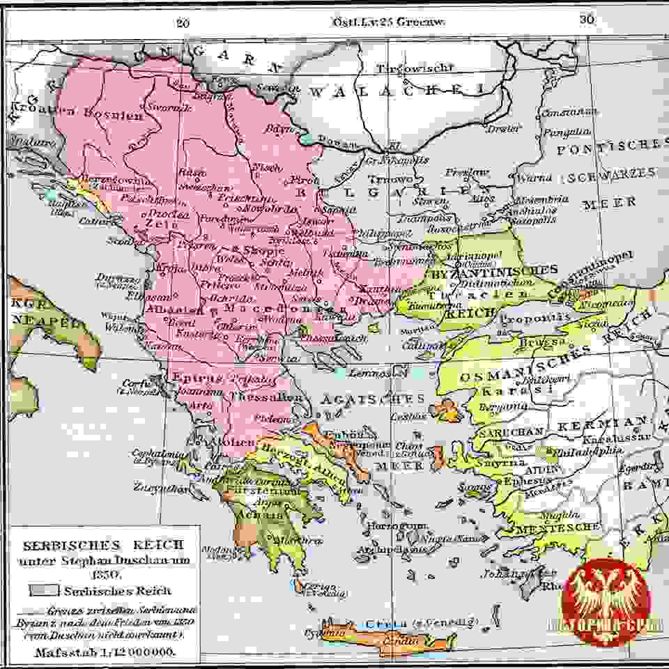 dusanovo carstvo mapa Karta Dušanovog carstva dusanovo carstvo mapa