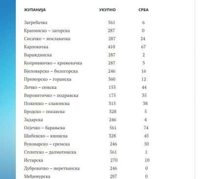Укупан број кандидата и број српских кандидата по жупанијама на локалним изборима у Хрватској