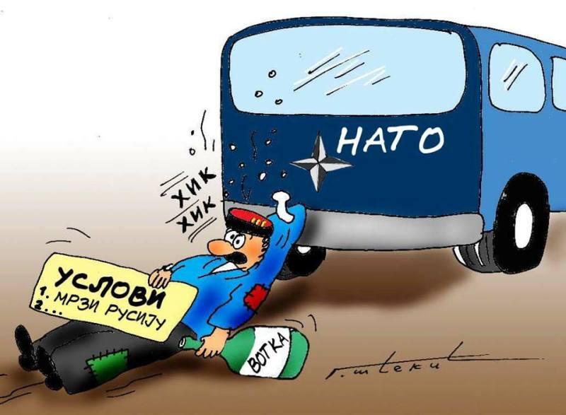 Karikatura Crna Gora NATO 03 Кључна битка Запада против Русије води се   у Србији