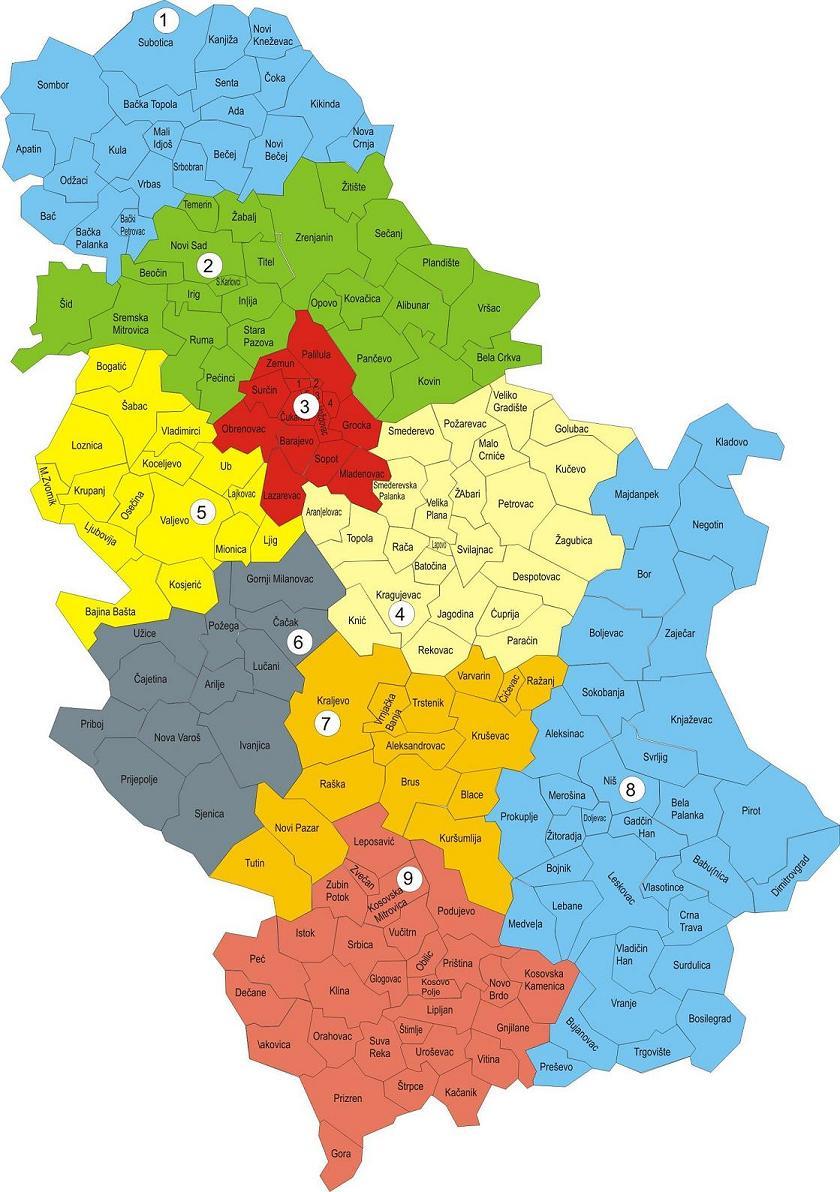 mapa srbije regioni Procena broja Albanaca za opštine Preševo, Bujanovac i Medveđa  mapa srbije regioni