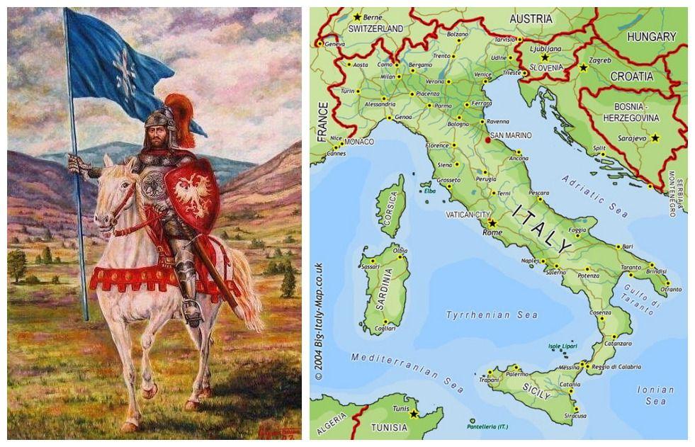 Srpski Vitez Mapa Danasnje Italije In4s